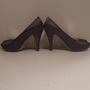 Purple Satin Peep Toe Heels Beautiful Condition